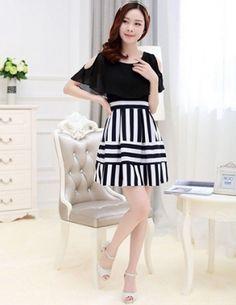 Đầm thun sọc phối voan áo màu đen - A8513