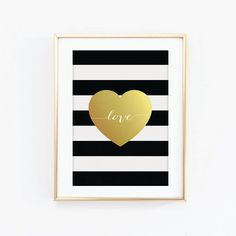 Faux Gold Foil Love Heart Print, Black and White Stripes, by SweetlovePress
