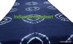 Sold By yard Indian Handmade Indigo Blue Shibori Print Tie-Dye Cotton Fabric #KhushiHandicraft