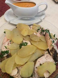 Merluza y patatas al vapor con salsa de sidra y almendras, Cecomix
