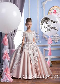 Pink Satin White Lace Flower Girl Dresses Kids Girls Wedding Party Gowns Pageant