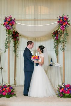 Colorful Chuppah (Huppah) - Jewish Wedding Canopy {Erin Johnson Photography} - mazelmoments.com
