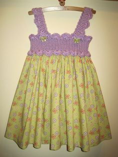 Dress LILACS AND PEACHES Crochet Bodice and Fabric by ElsaLAbbe,