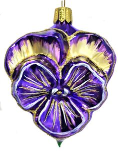 Fuchsia and Gold Pansy Flower German Glass Christmas Tree Ornament Decoration