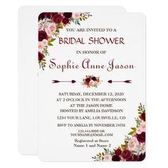 Elegant Burgundy Marsala Floral Fall Bridal Shower Card  $2.15  by Go4Wedding  - cyo diy customize personalize unique