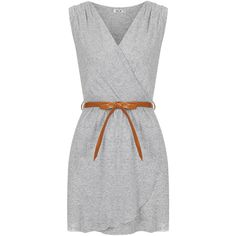 **Grey Marl Wrap Dress by Wal G ($45) ❤ liked on Polyvore