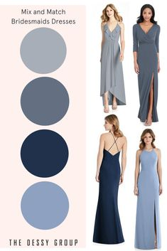 Platinum bridesmaid dresses in your perfect wedding colors! Beautiful fabrics and nearly 200 color options let you mix and match bridesmaid styles from all our collections. Enjoy flawless color matching for adult bridesmaid dresses, junior bridesmaid dres Dessy Bridesmaid, Grey Bridesmaids, Mismatched Bridesmaid Dresses, Bridesmaid Dress Colors, Junior Bridesmaid Dresses, Bridesmaid Flowers, Wedding Dresses, Woods Wedding Inspiration, Samantha Wedding
