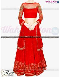 Look graceful and sophisticated at the upcoming wedding party by wearing this Reet Glamour Red Embroidered Lehenga. Featuring an eye-catching design and pattern, this set will surely make you stand out from the crowd. Team this set with colourful bangles and a pair of trendy footwear to look ravishing. Made from crepe fabric to ensure optimum. For more details whatsapp us +919915178418