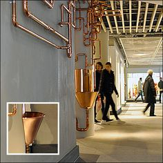 Copper Fountain and Runaway Piping in Retail