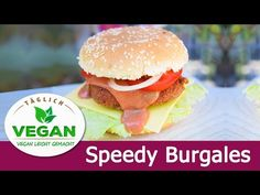 Der VEGANE SPEEEEED BURGER - aus Seitan Seitan, Hamburger, Videos, Ethnic Recipes, Food, Food Food, Recipes, Meal, Eten