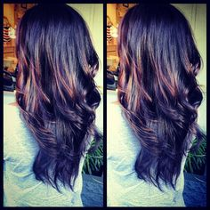 Long-layered haircut with Brown plum base and panels of Carmel color..