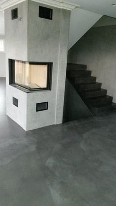 Hjem | Beton Cire Micro Cement, Remodeling Ideas, Stove, Stairs, Flooring, Home Decor, Concrete Fireplace, Fireplace Design, Future House