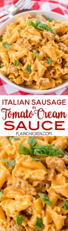 Italian Sausage in Tomato Cream Sauce - ready in 15 minutes! SO simple and tastes AMAZING! Better than any restaurant!! Pasta, Italian Sausage, heavy cream, onion, garlic, oregano, salt, pepper and tomato paste. Can add mushrooms and peppers - get creativ