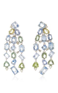 Blue & Green Sapphire And Diamond Drop Earrings by GIOIA for Preorder on Moda Operandi