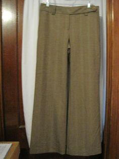 Ann Taylor Loft Size 8 Brown Dress Pants Wide Leg Wool Blend Light Pinstripes #AnnTaylorLOFT #DressPants