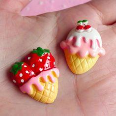 Kunststoffcabochons - Ice Cream Cabochon mit Erdbeere & Kirsche F... - ein Designerstück von MiniatureSweet bei DaWanda