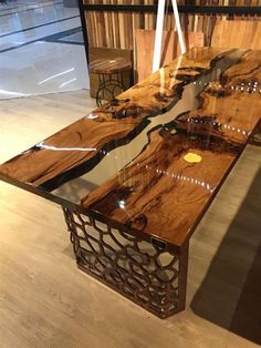 Amazing Resin Wood Table Ideas For Your Home Furnitures 05 - Resin furniture - Used Outdoor Furniture, Resin Patio Furniture, Furniture Plans, Wood Furniture, Backyard Furniture, Apartment Furniture, Unique Furniture, Furniture Design, Epoxy Table Top