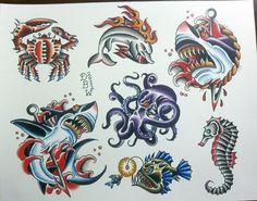 Nautical II Traditional Tattoo Flash Sheet by DerekBWard on Etsy Octopus Tattoo Sleeve, Octopus Tattoo Design, Tattoo Design Drawings, Tattoo Designs, Traditional Tattoo Animals, Traditional Shark Tattoo, Traditional Tattoo Design, Traditional Tattoos, Flash Art Tattoos