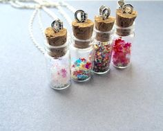 Glass Bottle Necklace Bottle Necklace Christmas by Instyleglamour