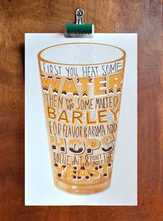 Beer - Two color silk screen print via Manvsink on Etsy.