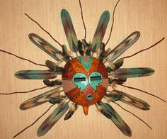 Masks are created from gourds and a variety of f ound objects, wire, beads, feathers, and the many interesting items that Mother Nature has to offer! Native American Pottery, Native American Art, Ceramic Mask, Tiny Dolls, Gourd Art, Aboriginal Art, Wooden Jewelry, Gourds, Mask Making
