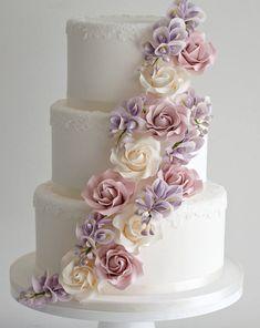 white wedding cake with cascading pastel flowers ~  we ❤ this! moncheribridals.com #weddingcakes