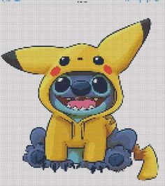Stitch wearing Pikachu hoodie- Stitch wearing Pikachu hoodie   -#Briefcasecanvas #Briefcaselock #Briefcasemetal #Briefcasesketch #feminineBriefcase Cross Stitch Art, Cross Stitch Alphabet, Cross Stitch Designs, Cross Stitching, Cross Stitch Embroidery, Cross Stitch Patterns, Toothless And Stitch, Lilo Y Stitch, Stitch Character