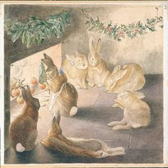 The Rabbits' Christmas Party - Roasting Apples ~ Beatrix Potter  #art #watercolor #painting