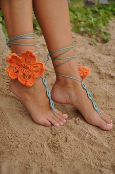 Naranja flor Crochet descalzo sandalias zapatos Nude por barmine
