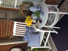 Dressed my porch in classic blue and white for Spring!