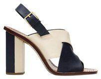 Tory Burch Heels Block Summer Leather 8.5 Green Ivory Sandals