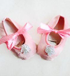 Infant Girls Ballet Slipper Size 4.5 Pink Satin Ribbon Shoes Crystals Rhinestones on Etsy, $9.50