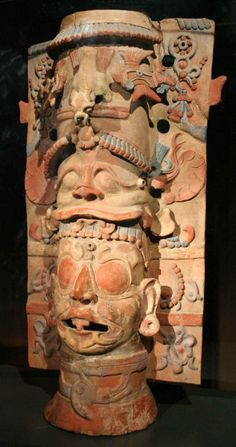 Maya; Column polychrome anthropomorphic;  Ceramic; Late Classic period from 600 to 900 AD and Texcalac Coyotlatelco phases.