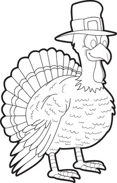 Printable Thanksgiving Turkey Coloring Page for Kids