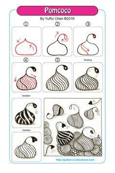 Pomcoco Step by step zentangle pattern Zentangle Drawings, Doodles Zentangles, Doodle Drawings, Tangle Doodle, Zen Doodle, Doodle Art, Zantangle Art, Zen Art, Doodle Patterns