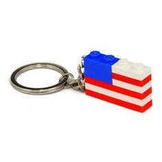 Flag keychain made with LEGO bricks, a modern classic. via Etsy.