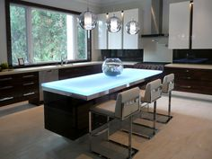 Glass Countertop Island with LED lighting designed by CGD Glass ...