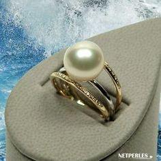 Bague Or gris Or Jaune et diamants avec perle de culture d'Australie