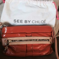See By Chloe cross body bag Patent leather See By Chloe bag with detachable straps which can worn as cross body or clutch purse. Perfect for spring! Chloe Bags Crossbody Bags