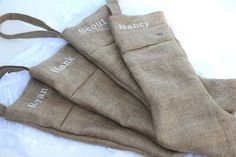 Monogrammed 1 Rustic Burlap Christmas Stocking Plain and by elgies, $26.00
