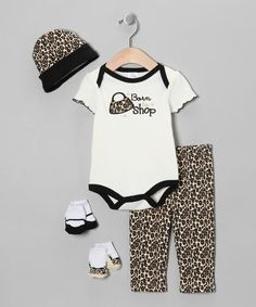 Take a look at this Crème 'Born to Shop' Layette Set by Baby Essentials on #zulily today!