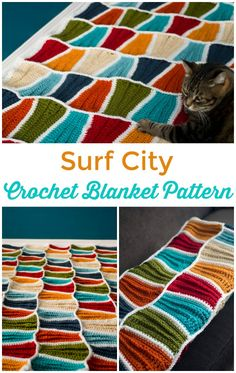 Textured crochet blanket pattern with ripples like the waves in sand. Gorgeous blanket crochet pattern, ideal for a cottage down by the beach.