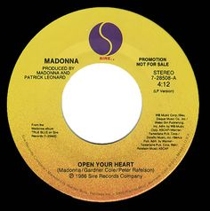 "For Sale -Madonna Open Your Heart USA Promo  7"" vinyl single (7 inch record)- See this and 250,000 other rare and vintage records & CDs at http://eil.com/"