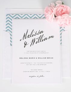 Modern Wedding Invitations with Calligraphy Names and Dusty Teal Blue Chevron Envelope Liner