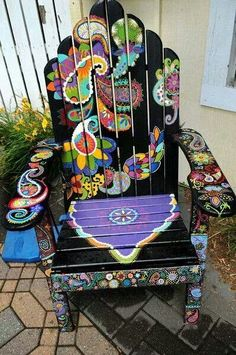 Hand painted patio chair