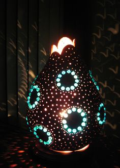 Hand crafted elegant gourd table lamp with large blue beaded circles.. $85.00, via Etsy.
