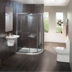Create an ultra-modern look with this Balterley en-suite complete with shower enclosure, basin and toilet