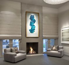 Designer really knows how to warm up a serene with a fireplace and oversized ⠀ Photo: Dan Piassick. Luxury Interior, Interior Styling, Tile Projects, Interior Design Magazine, Bedroom Lighting, Light In The Dark, Luxury Homes, Lounge, House Design