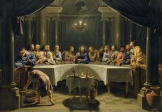 1220073 The Last Supper, (oil on canvas), Champaigne, Jean Baptiste de / Detroit Institute of Arts, USA / Gift of Ralph Harman Booth / Bridgeman Images Last Supper Art, The Last Supper Painting, Jesus Last Supper, Jesus Christ Images, Jesus Art, Catholic Art, Religious Art, Rosary Catholic, Lords Supper