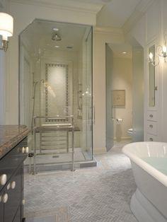Beautiful herringbone Tile Floors  love built in, separate water closet (use solid door), great layout